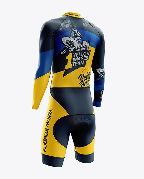 Download Download Men's Cycling Skinsuit LS PSD Mockup Back Right ...