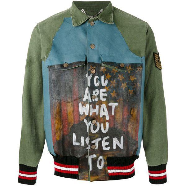 Pihakapi customised shirt jacket (1,741,460 KRW) ❤ liked on Polyvore featuring men's fashion, men's clothing, men's outerwear, men's jackets, jackets, green, mens green leather jacket, mens real leather jackets, mens leather jackets and mens green jacket