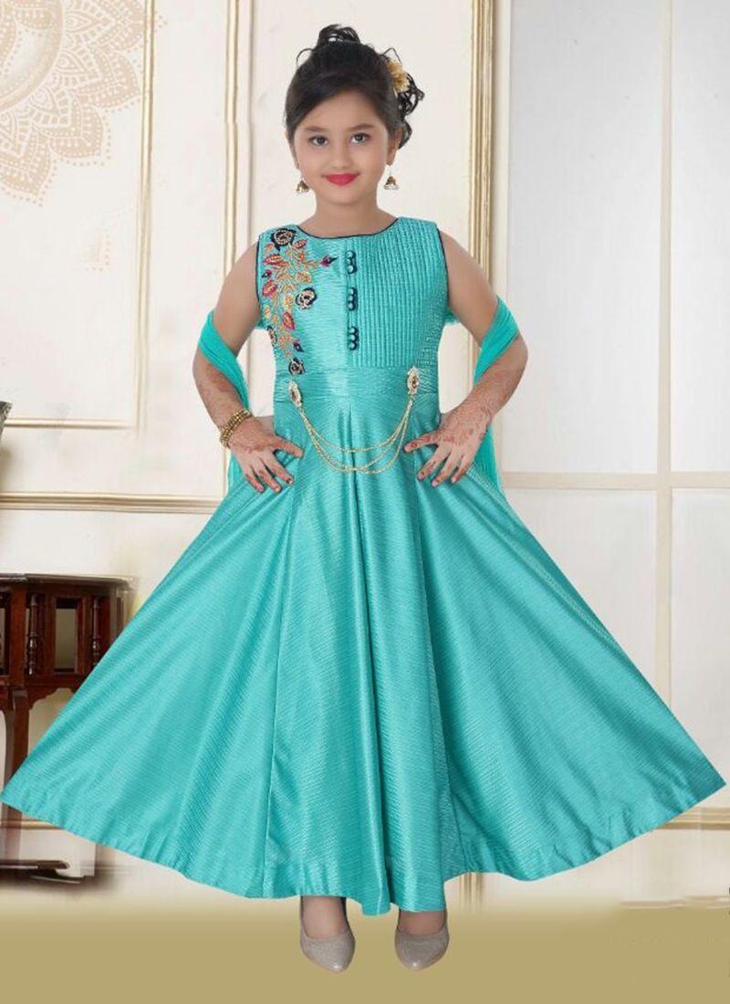 Party Wear Sky Blue Silk Embroidery Work Kids Salwar Suit | aftab ...
