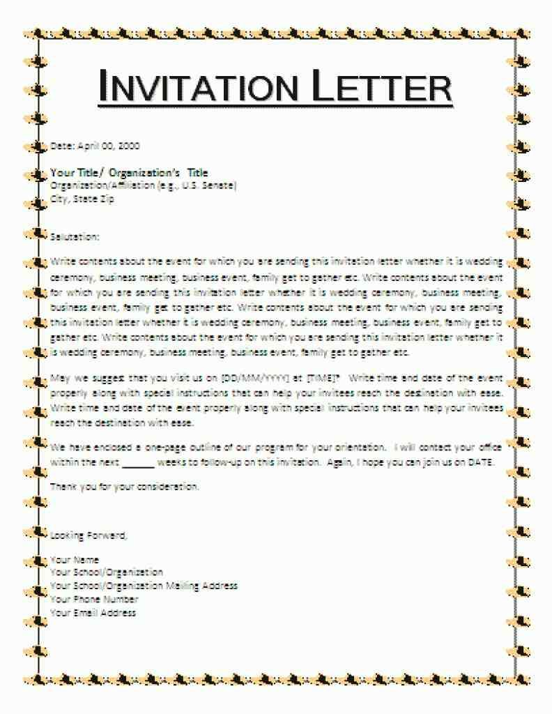 Invitation Letter Format Cover Letters Formatrmal  Home Design