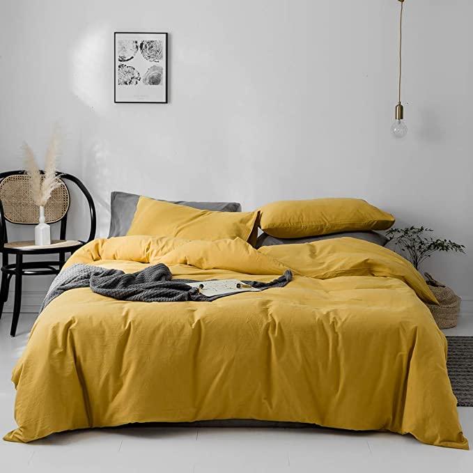 Amazon Com Vm Vougemarket Duvet Cover Queen 100 Washed Cotton 3pcs Bedding Duvet Cover Set Solid Color Soft A Duvet Covers Yellow Yellow Duvet Yellow Bedding