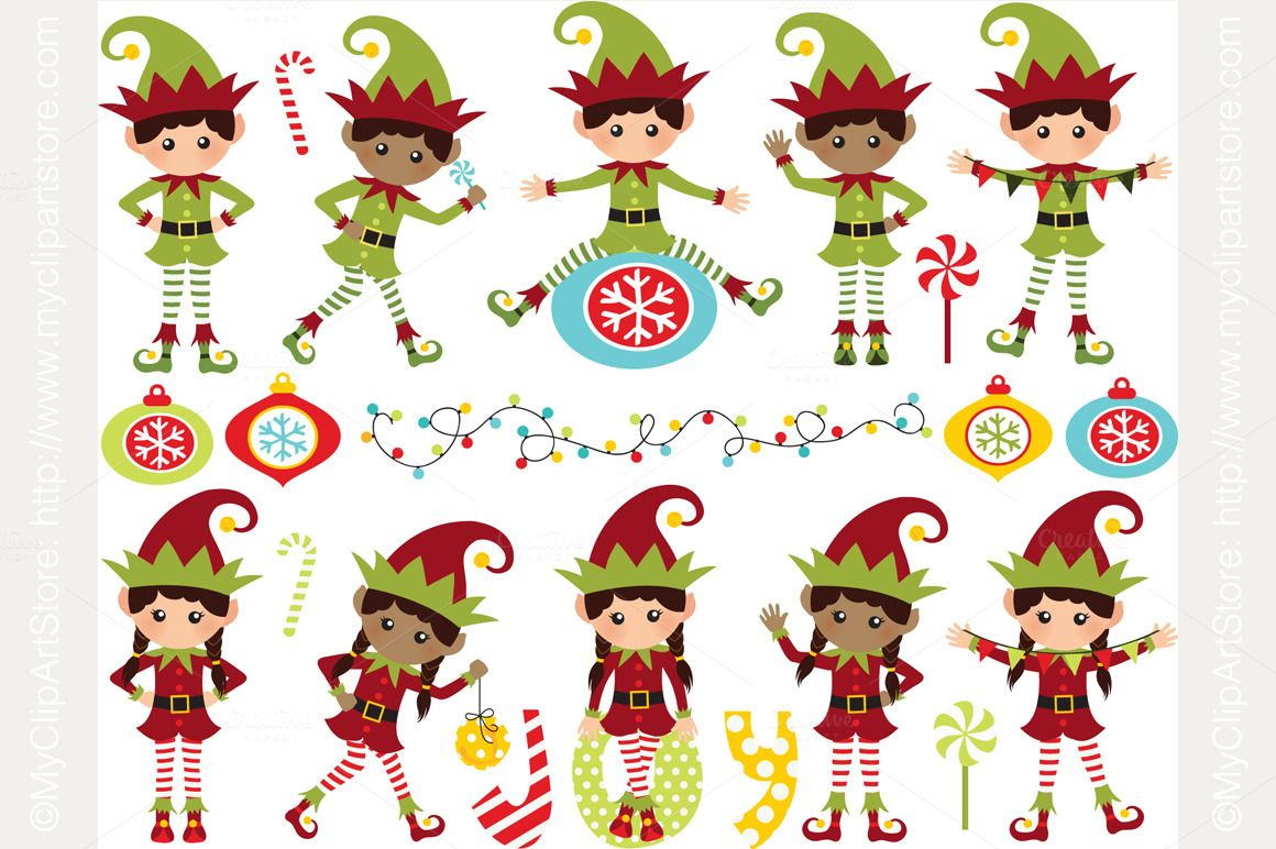 Christmas Santa's Elves Clipart, SVG (With images) Elf