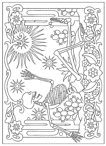 Creative Haven Day Of The Dead Coloring Book Dover Publications Sample Page Coloring Books Coloring Pages Skull Coloring Pages