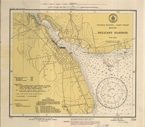 Belfast Harbor 1942 Old Map Nautical Chart Ac Harbors 3 319 Maine Old Map Nautical Chart Map