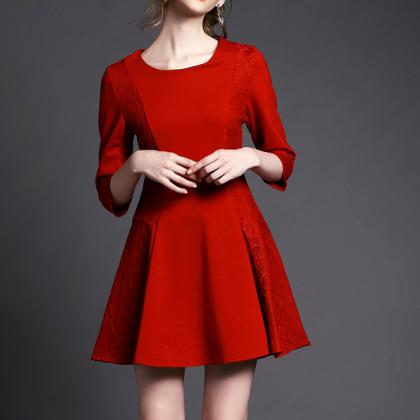 Lace Stitching Red, Black Temperame..