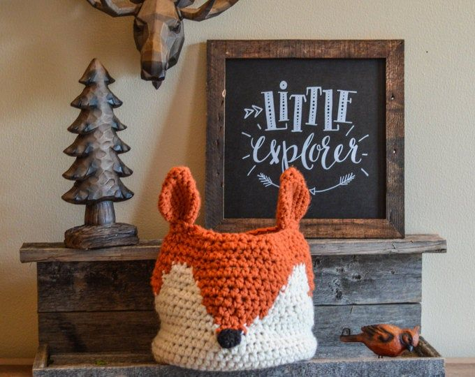 Grey Fox basket | crochet basket | fox Nursery decor | woodland nursery camping room decor
