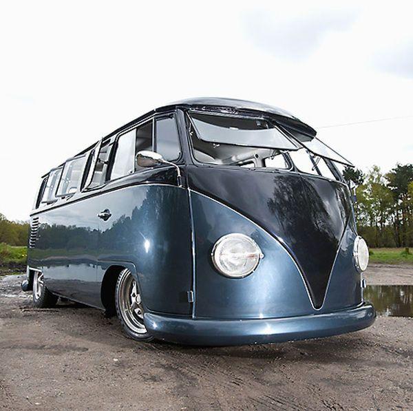 Print of VW Volkswagen Classic Camper van (modified), 1965, Blue, metallic