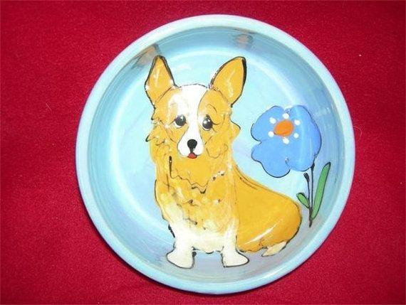 Hand Painted Corgi Ceramic Dog Bowl