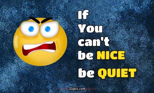 If You can't be Nice, be Quiet