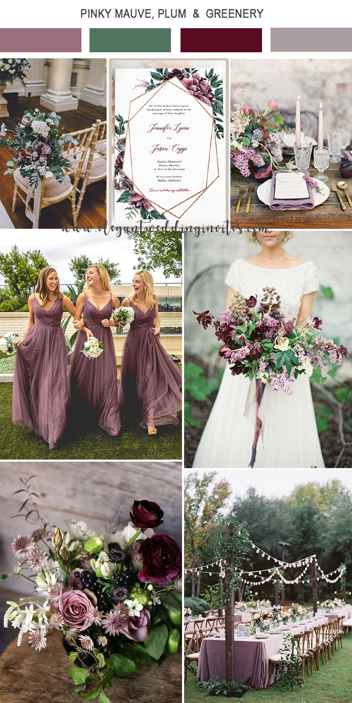 pinky mauve and greenery wedding colors