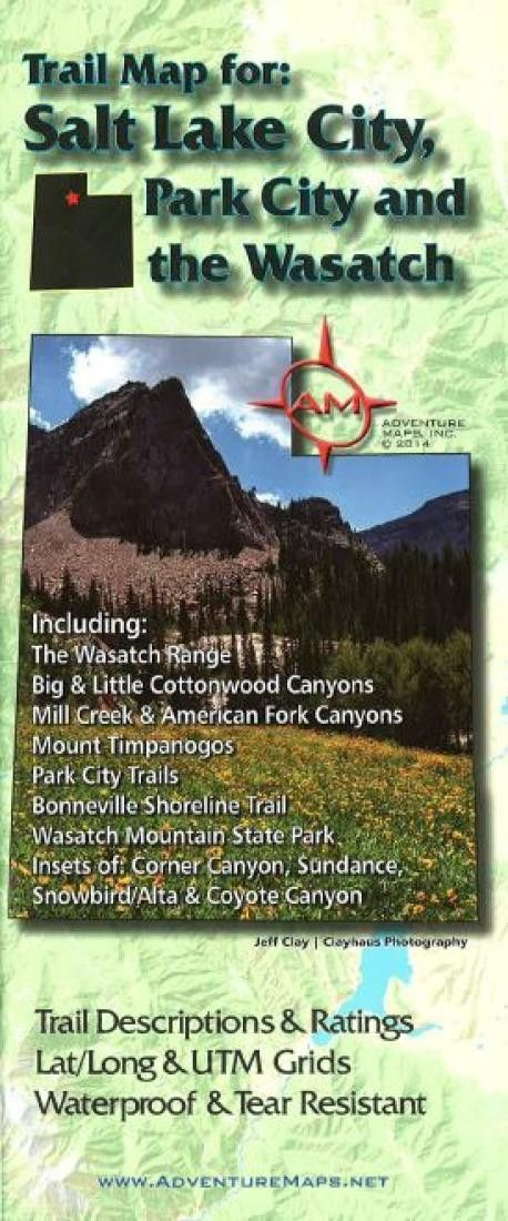Us Lat Long Map%0A Salt Lake City  Park City  and the Wasatch  Trail Map by Adventure Maps