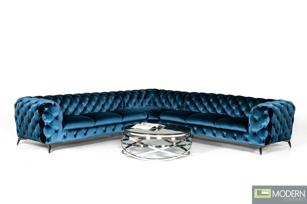 Best Lourdes Modern Blue Fabric Sectional Sofa Fabric 400 x 300