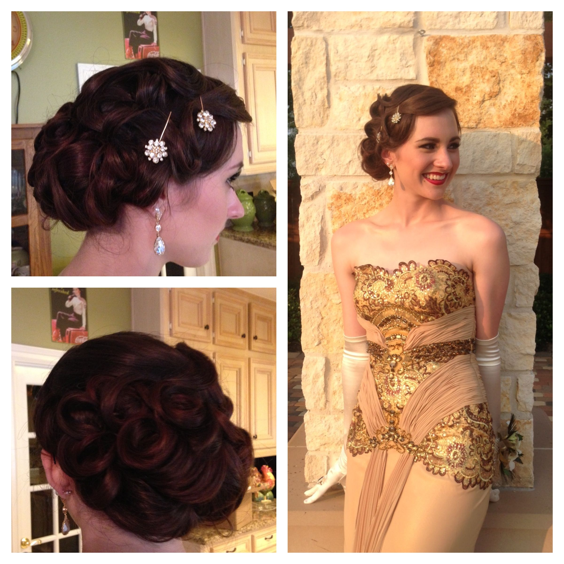 Old HollywoodGreat Gatsby updo for Prom