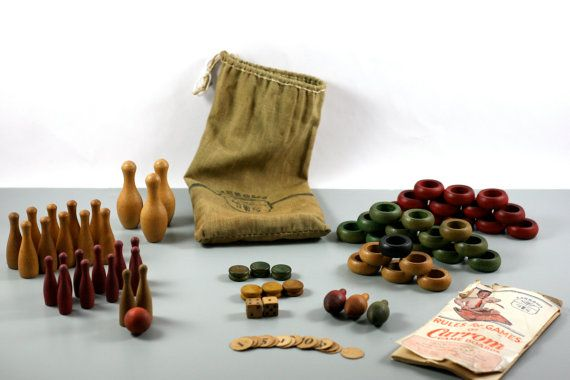 1901 Carrom Game Pieces  and Rule Book in Original Drawstring Bag - Vintage Gamepieces on Etsy, $75.00