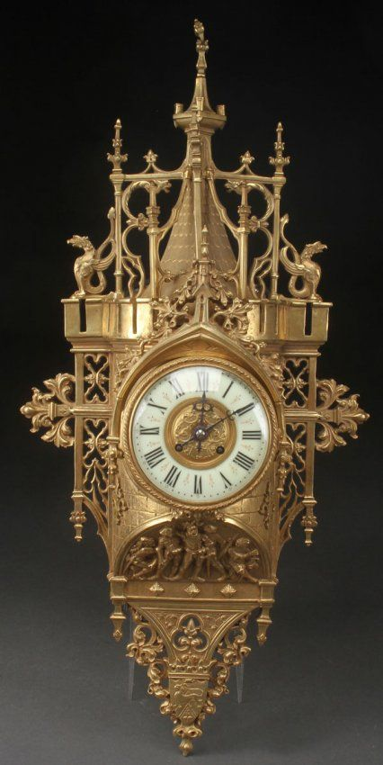 French Gothic Revival Gilt Bronze Wall Clock Lot 382