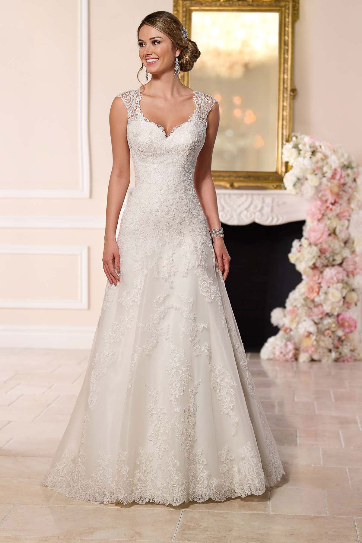 Lace cap sleeve a line wedding dress  Stella York  Barton A line wedding gown from Stella York boasts