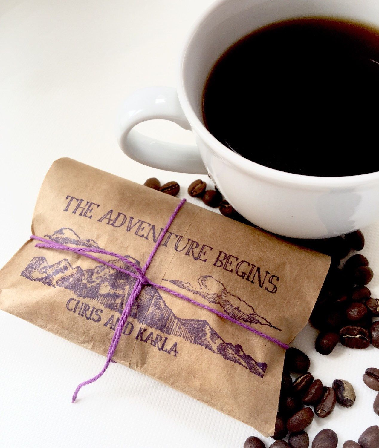 Rustic Wedding Favors. Freshly roasted coffee favors with