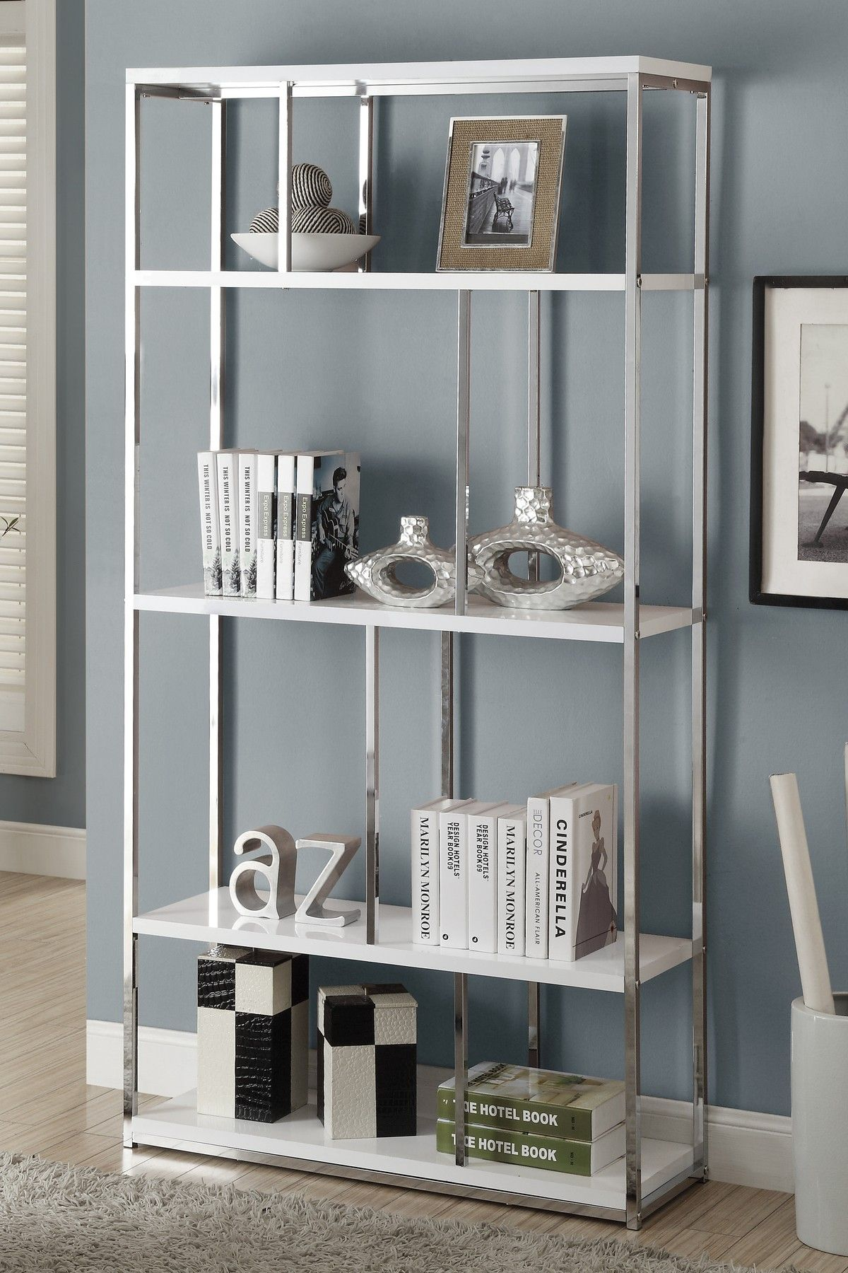 Glossy White Chrome Metal Bookcase On Hautelook