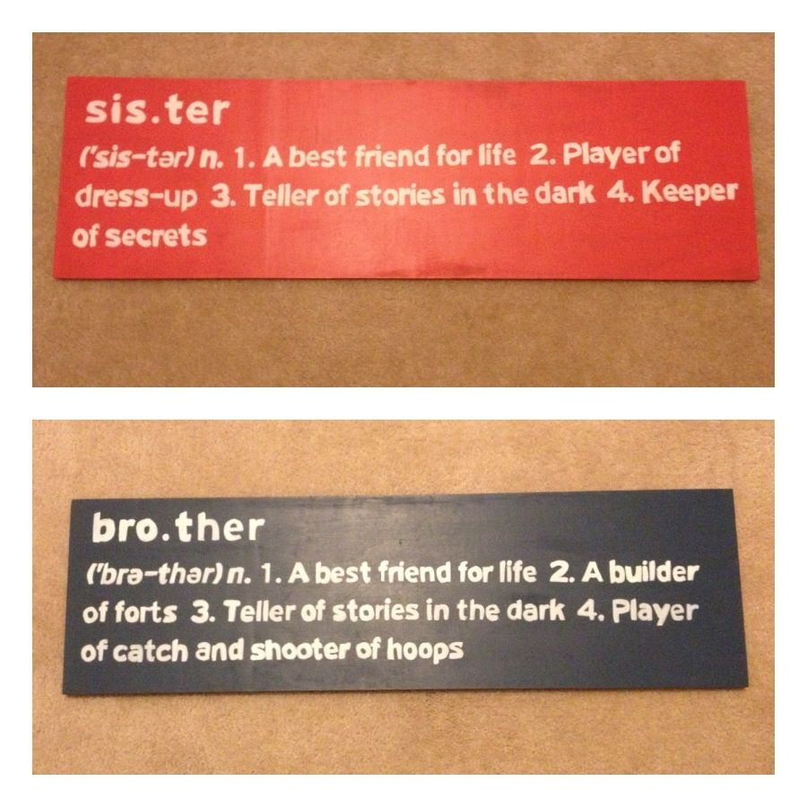 brother and sister signs