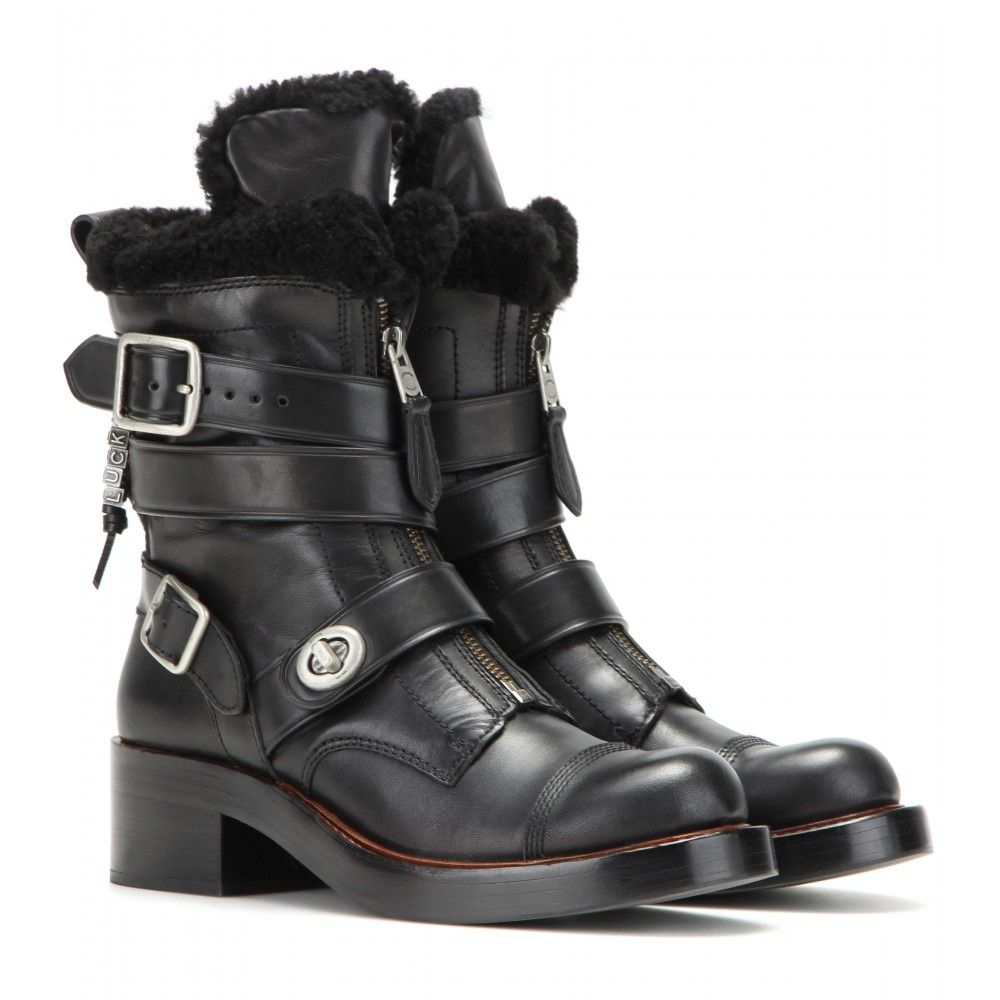 Coach Shearling-Trimmed Moto Boots where to buy low price fogfAB8rj