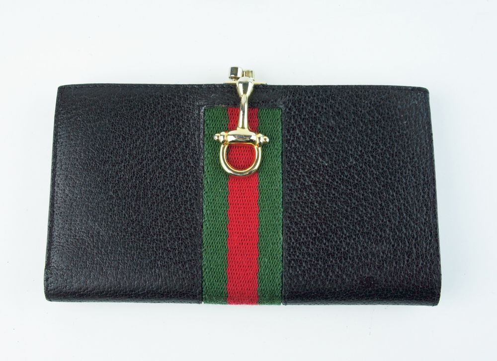 99750ae9db9 Vintage GUCCI Black Leather Red Green Stripe Wallet Coin Purse Checkbook  Cover  Gucci  Bifold