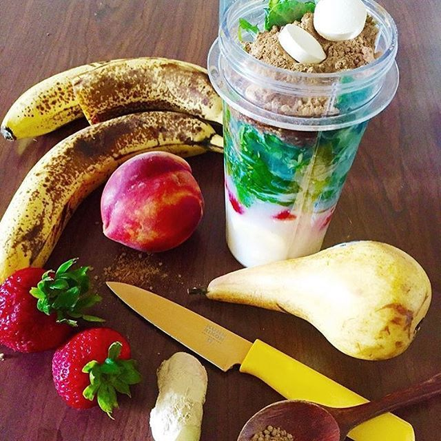 Fresh fruits and goodies for the road in a Personal Blender cup for one. Smoothie by @yoursoulretreat.