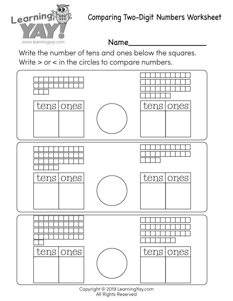 First Grade Comparing Two Digit Numbers Worksheet Tens And Ones Worksheets Tens And Ones First Grade Math Worksheets [ 1035 x 800 Pixel ]