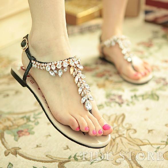 US$69.99 Popular Black Summer Cowhide Upper Flat Heels Fashion Sandals for Girls. #Flats #Upper #Summer #Sandals