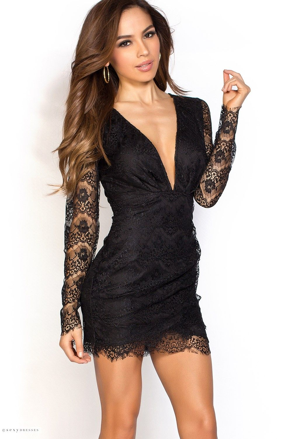 f1bfcf9d20b Dream closets · Open Back Plunging Short Black Lace Dress ...