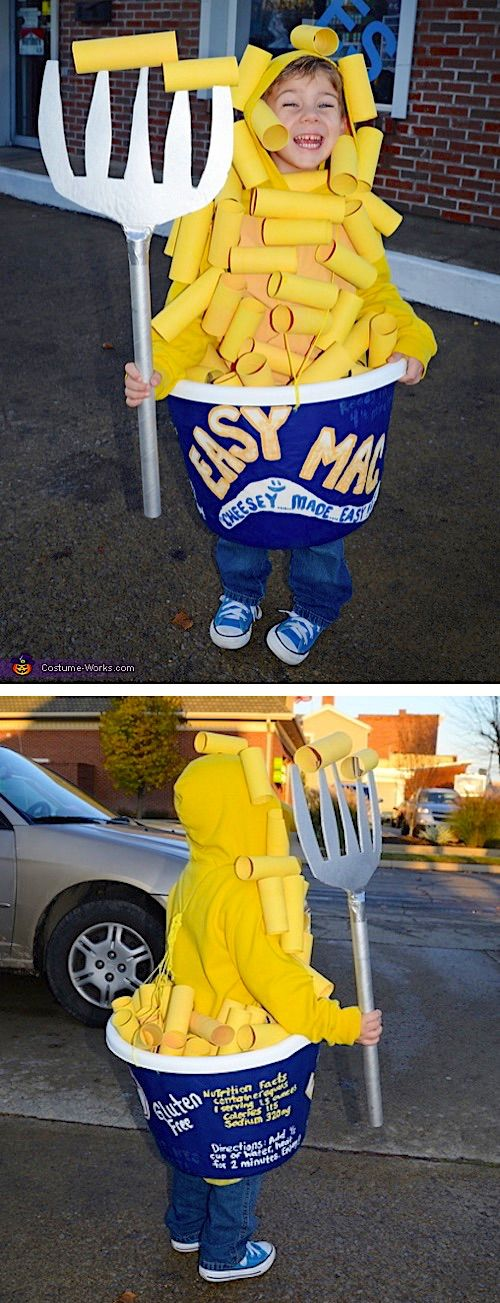 30 Easy DIY Halloween Costumes For Kids (Boys and Girls!) | Homemade Mac and Cheese Costume-- super funny and cute! #funnyhalloweencostumes