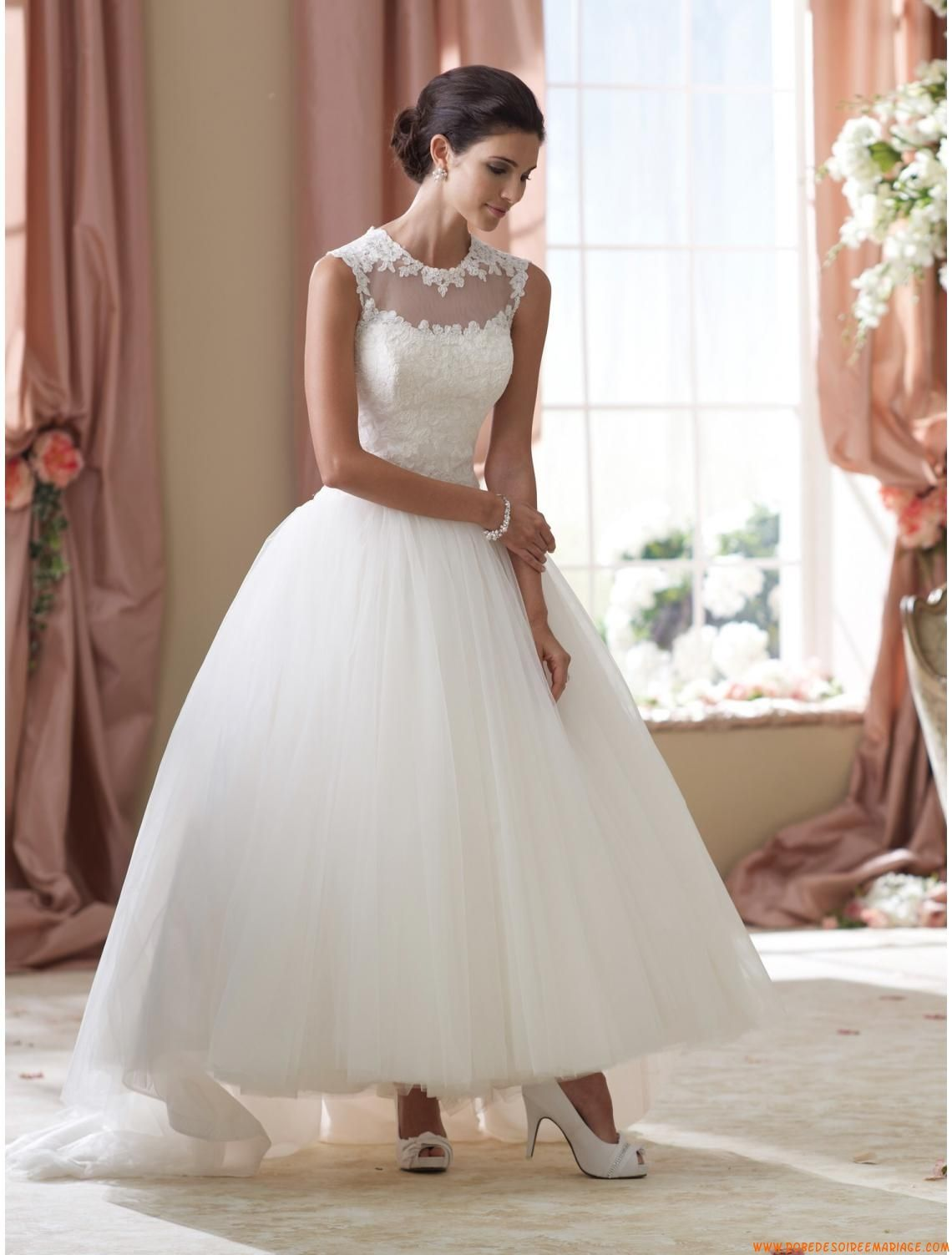 Robe de marie princesse tulle application de dentelle ...