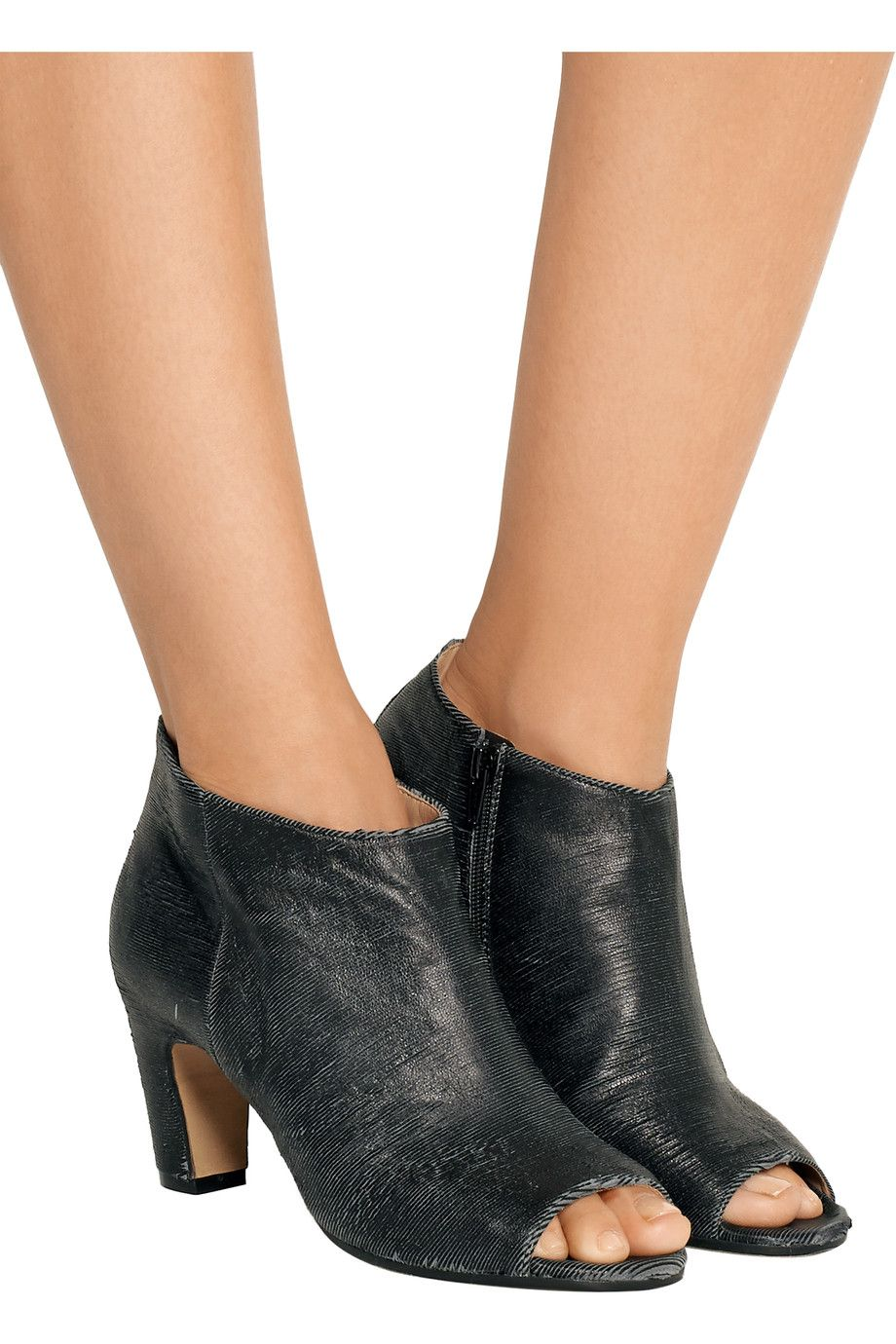 Maison Margiela Textured Peep-Toe Ankle Boots outlet ebay cheap sale affordable official cheap price sale low shipping xvNmYvWiwW