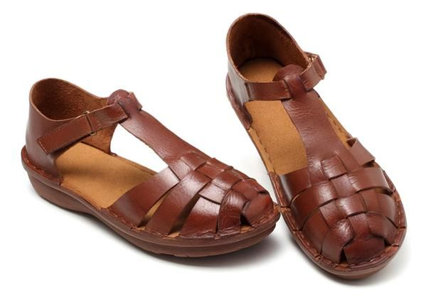 #Handmade#Flat#Sandals#Female#Leather#Hollow#Woven#Roman#Shoes S33