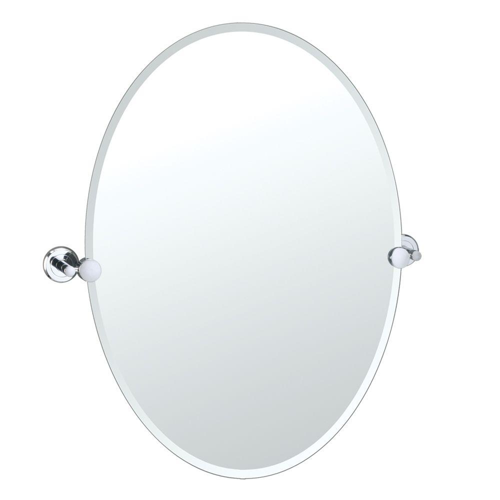 Gatco Latitude Ii 24 In X 27 In Frameless Oval Mirror In Chrome