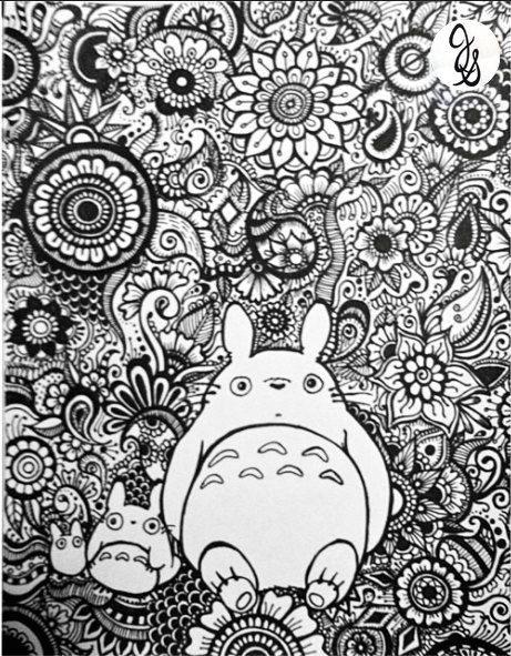Totoro Floral Design by byjamierose on Etsy | mandalas | Pinterest ...