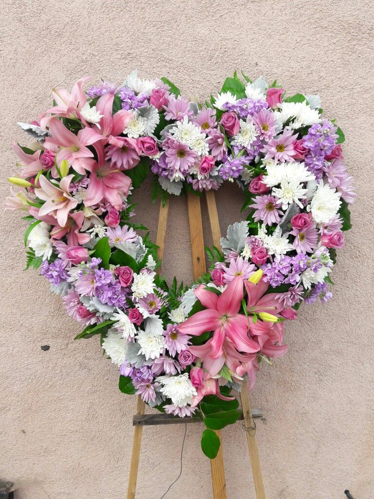 Open Sympathy Heart In Lavender Pink And White Colored Flowers