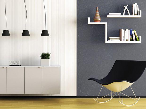 Peinture salon gris anthracite et blanc effet paillette Salons