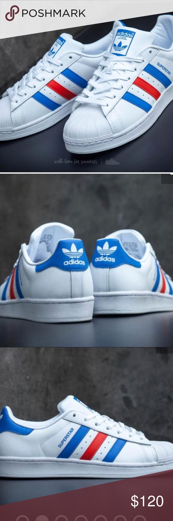 adidas superstar ftw bianco / blu / rosso nwt originali.