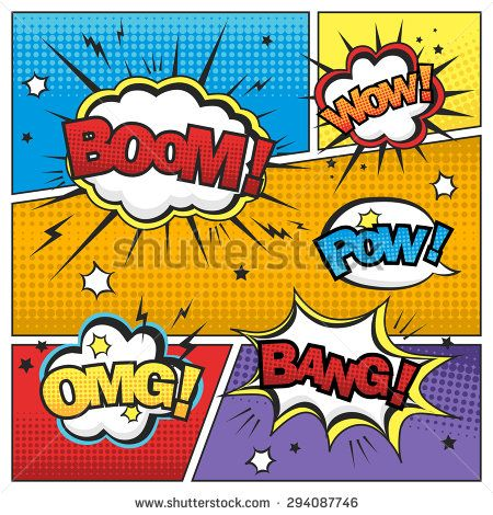 Attractive Comic Sound Effect Set Isolated On Colorful Comic Strip