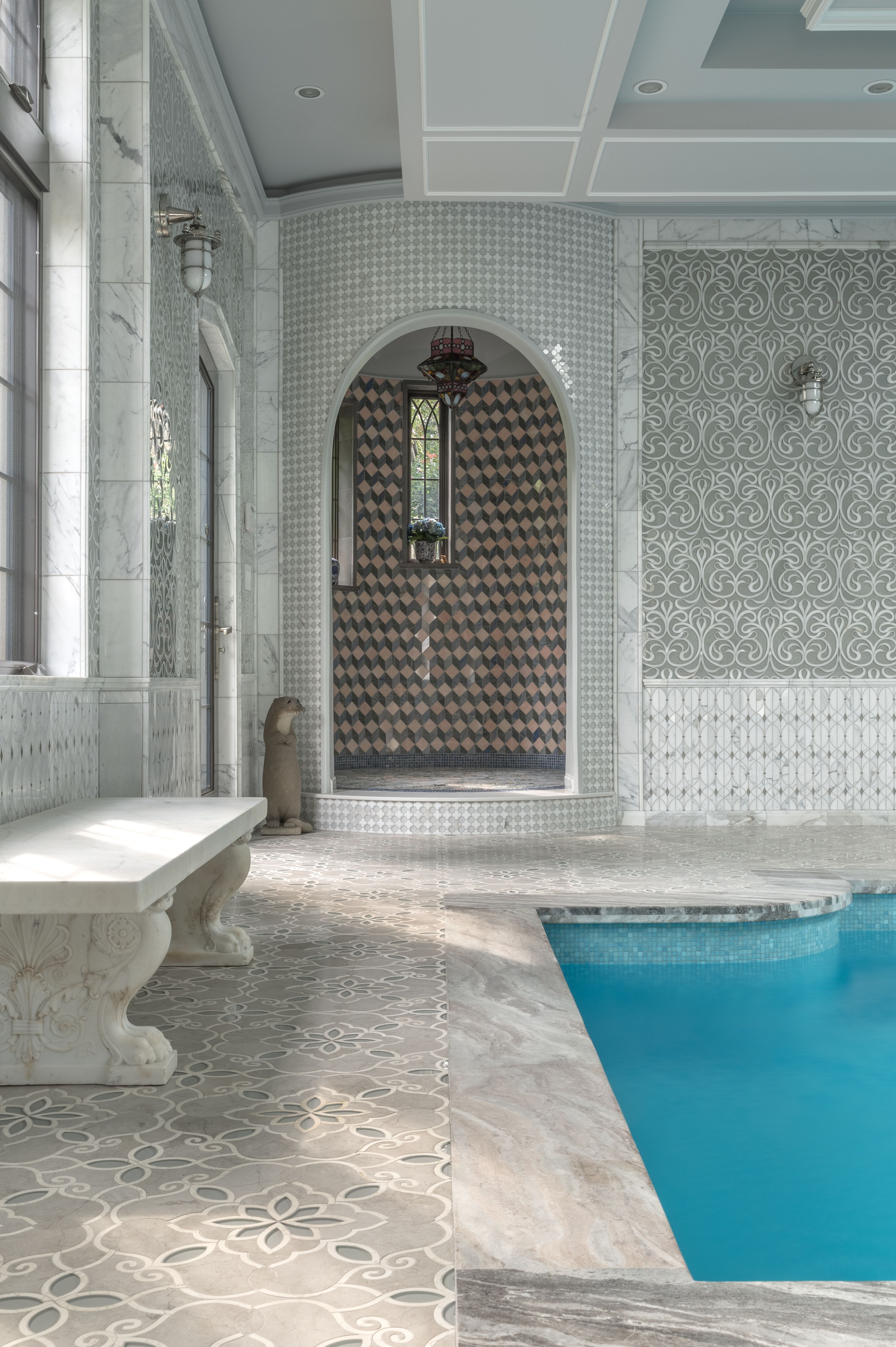 artistic tile i floor tile: granada smoke glass and stone water