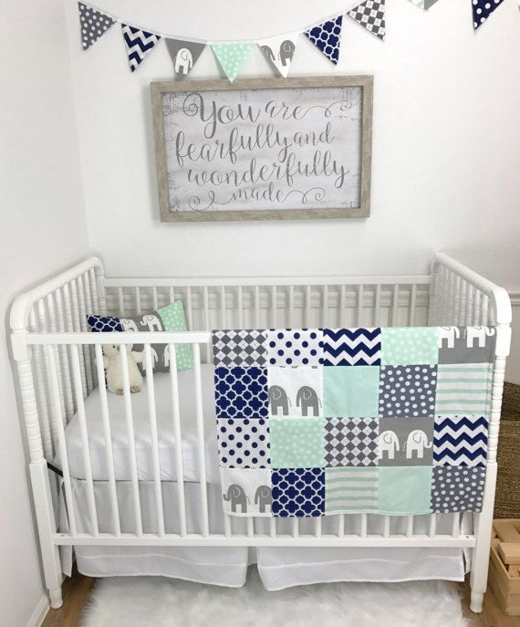 Baby Blanket Patchwork Boy Nursery Decor Crib