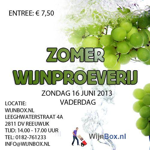 Zomer Wijnproeverij 16 juni van 14.00 uur tot 17.00 uur in Reeuwijk!
