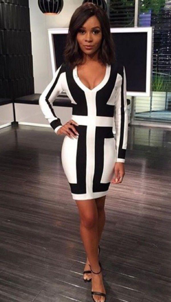 Long Sleeve Color Block Patchwork Womens Bodycon Dress Plus Size