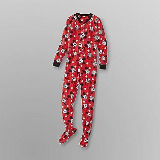 Disney- -Mickey & Minnie Women's Fleece Footie Pajamas