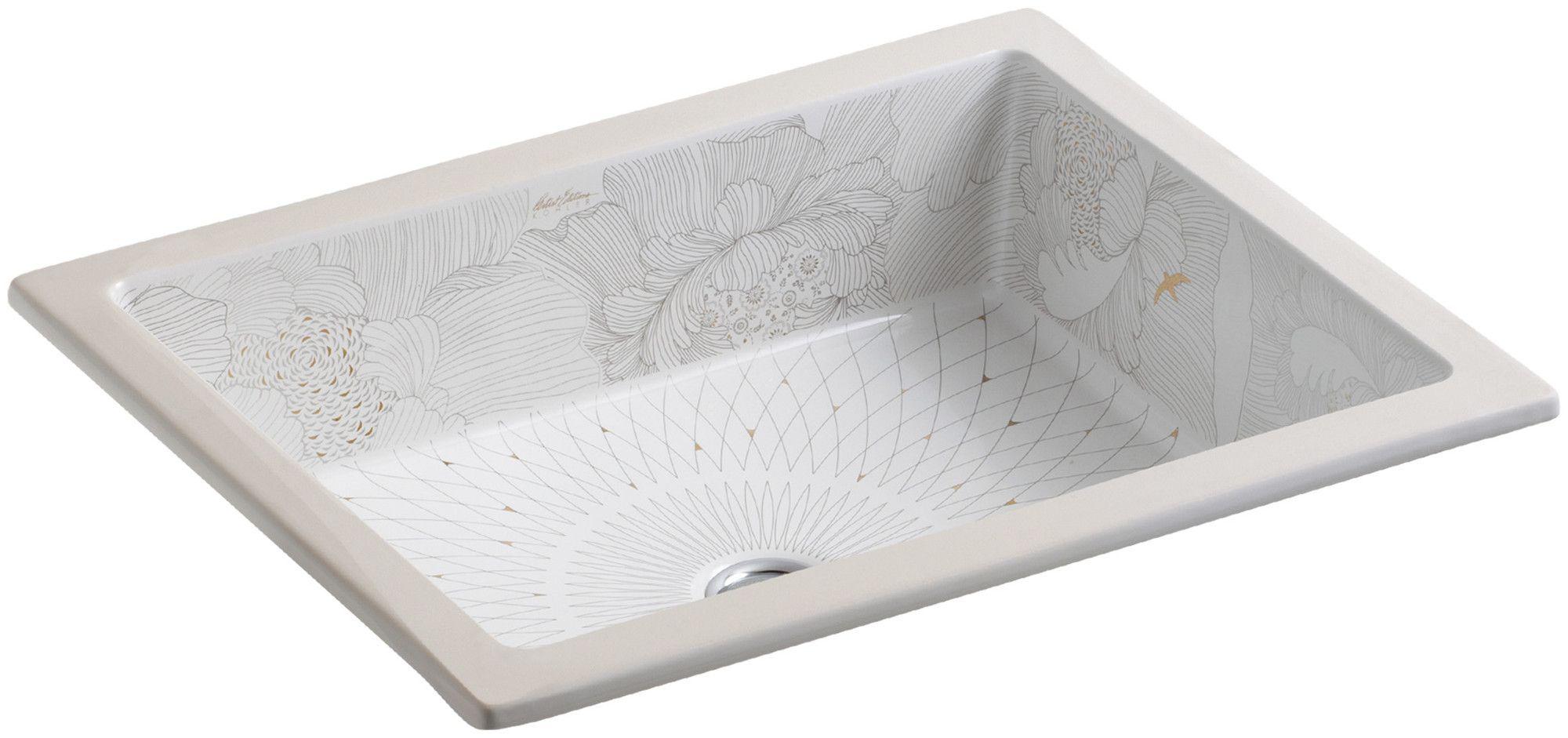Verticylтў Rectangular Undermount Bathroom Sink K-2882-0 empress bouquet design on kathryn undermount bathroom sink