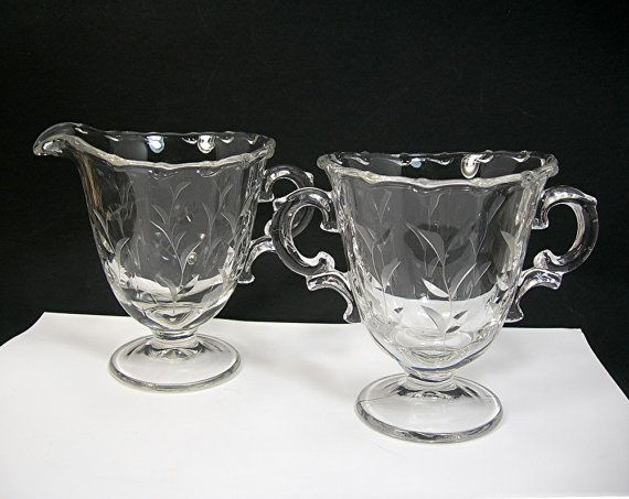 Fostoria Cream and Sugar Set, Century Pattern, Sprite Cut # 823 Leaves Design, Clear Glass, Vintage 1950-68, Elegant Glass