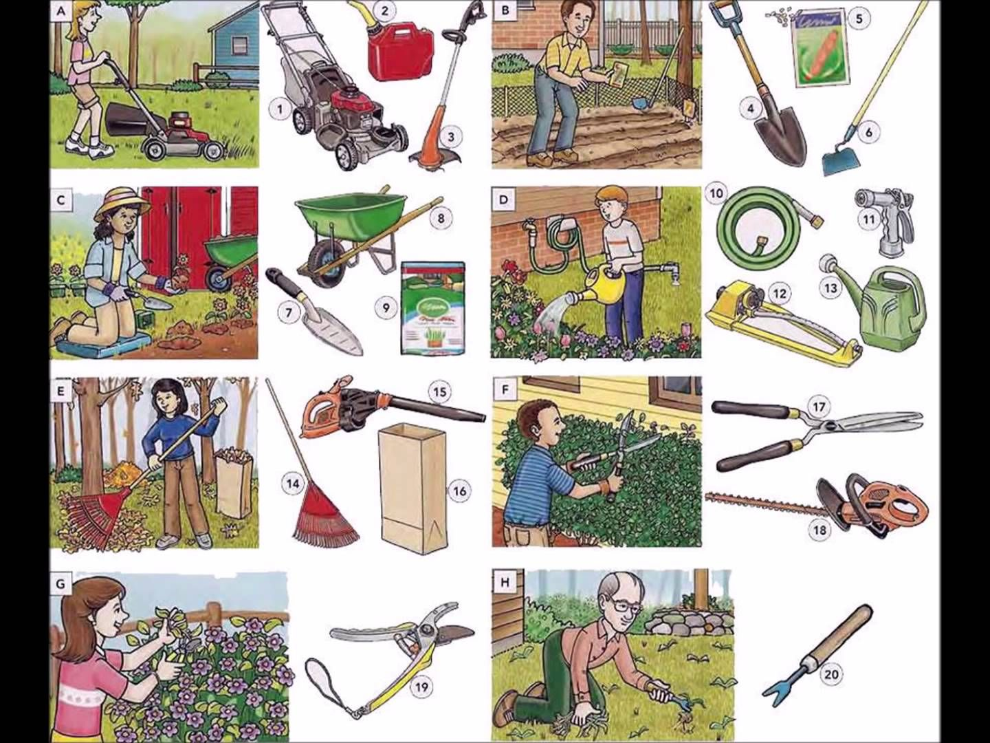 Garden tools garden actions and maintenance video english for Gardening tools vocabulary