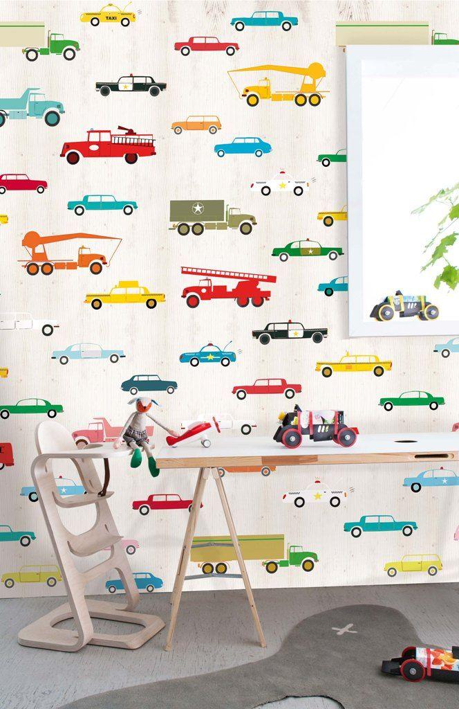 Behangposter Gekleurde Auto S Oz 3159 De Leukste Behang Voor De Kinderkamer Bij Saartje Prum Kinderkamer Auto Jongens Behang Kinderen Behang