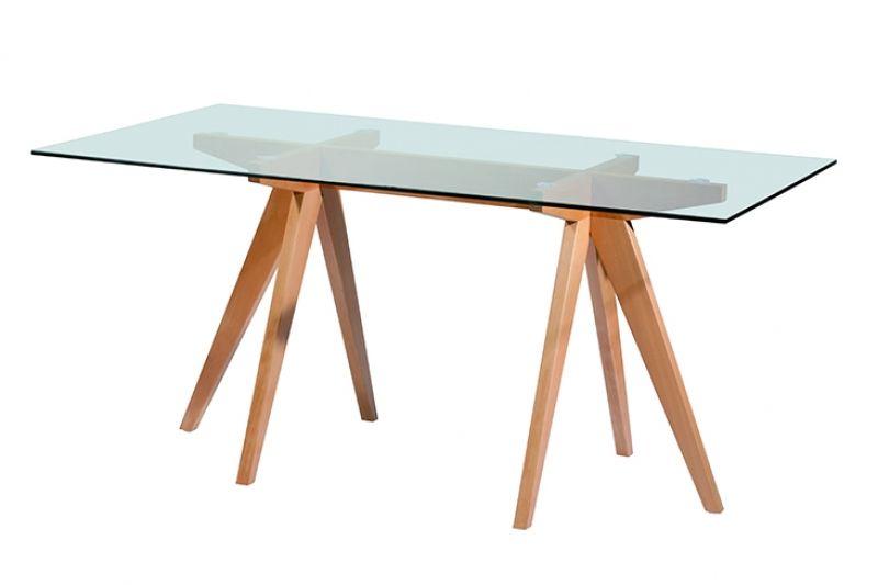 Mesa escandinava rectangular madera vidrio home for Mesa de comedor de vidrio rectangular