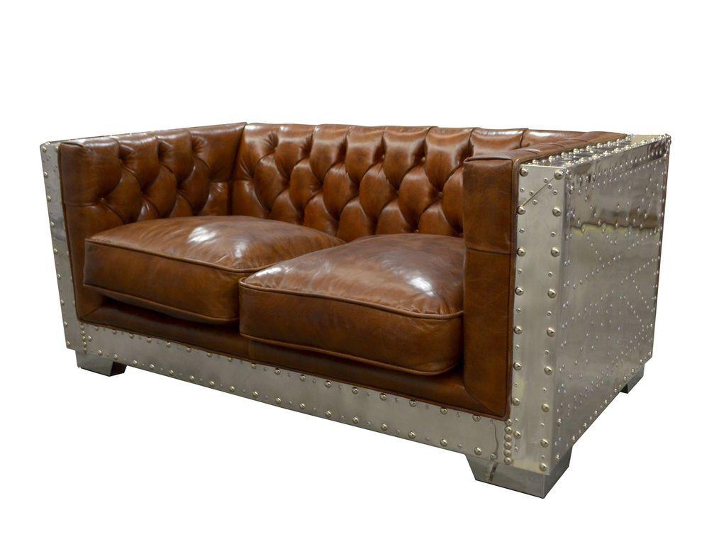 65 W Contemporary Brown Italian Leather Aluminum Sofa Marciatrasures Contemporary Love Seat Elegant Furniture Sofa Ebay